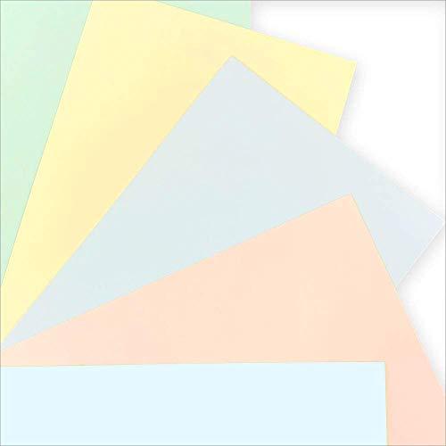 《メッセージカード はがきサイズ》パステルカラー50枚(5色×10枚)特厚 色上質 無地〈MCH-50〉