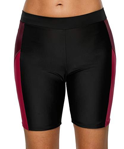 BeautyIn Damen Hautenge Leggings Swimwear Schwimmhose UV-Schutz Frauen Sonnenschutz Wassersport, Schwarz/Weinrot, XL