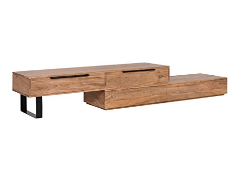 Woodkings® TV Bank Auckland variabel, Lowboard aus massiv Holz Natur, TV Möbel flexibel stellbar, Wohnwand variabel, Fernsehbank modern (Holz - Akazie, 2 Schub)