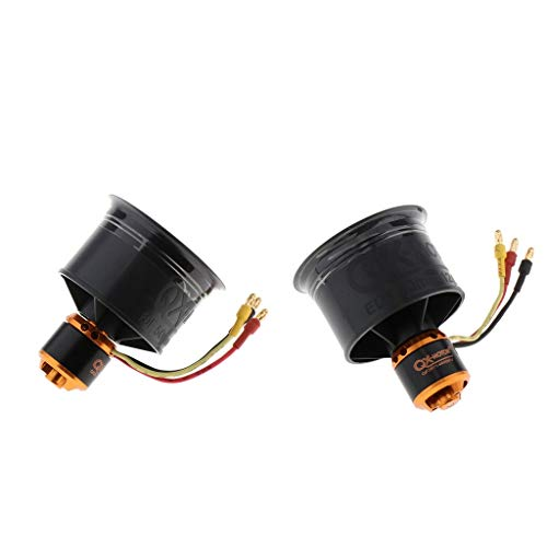 sharprepublic Ventilador de Conducto de 2 Piezas 50 Mm Motor Sin Escobillas de 12 Cuchillas CW / CCW para RC