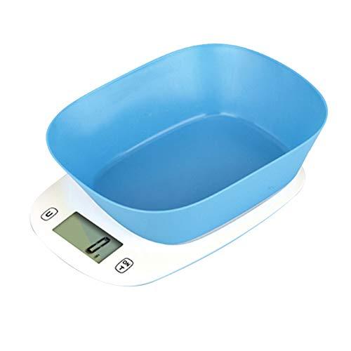 QAQ Electrónica Básculas De Cocina Digitales ABS Ecológico con Tazón Estándar De 1.1L 5kg/1g Horneado,Blue,21.6 * 17.7 * 7cm(5kg/1g)