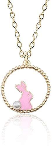 huangxuanchen co.,ltd Collar con Colgante, Collar con Colgante de Conejo esmaltado Encantador, Cadena de Dibujos Animados para Mujer, Collares de joyería de Animales