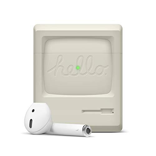 elago AW3 Funda de Silicona Compatible con Audífonos Apple AirPods 1 y 2 (LED Frontal Visible) - Estilo Retro Antiguo, Sin Bisagra, Soporta Carga inalámbrica, Protección Adicional