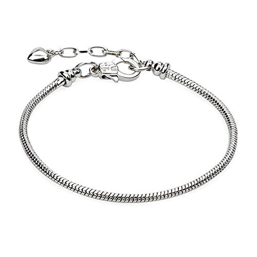 5pcs Chain Bracelets Kit Silver Plated Snake Chain with Heart Lobster European Charm Bracelet for Christmas DIY Women Girls Jewelry Findings Bracelet Making