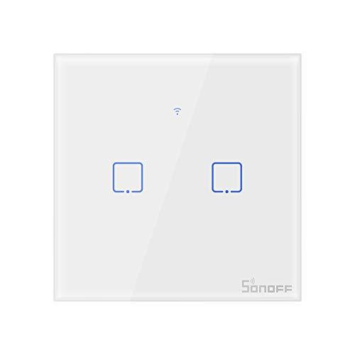 SONOFF T0EU2C Interruptor Mural para Luces Inalámbrico Wi-Fi Inteligente, Interruptor de Tipo 86 de 2 Canales para Soluciones de Automatización Domótica(1-Way)