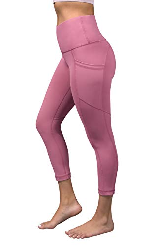 Yoga-Capri-Leggings, 90 Grad, hohe Taille, kniebeugensicher, mit seitlichen Handytaschen -  Pink -  Klein