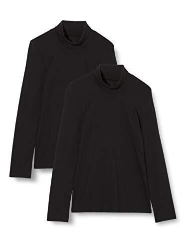 Iris & Lilly Camiseta Térmica Extra Cálida de Manga Larga Mujer, Pack de 2, Negro (Black), S, Label: S