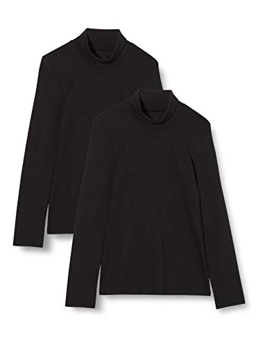 Iris & Lilly Camiseta Térmica Extra Cálida de Manga Larga Mujer, Pack de 2, Negro (Black), M, Label: M