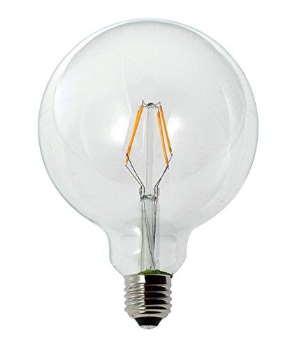 New-Lamps Lampadina a LED in vetro, a globo, G125, con attacco E27, disponibile da 2, 3,5, 6, 7 e 8 W, 240 V CA, luce calda da 2.700 K, diametro 125 mm, classe energetica A+
