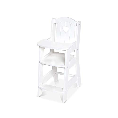 """Melissa & Doug Mine to Love Wooden Play High Chair for Dolls, Stuffed Animals - White (18""""H x 8""""W x 11""""D Assembled)"""