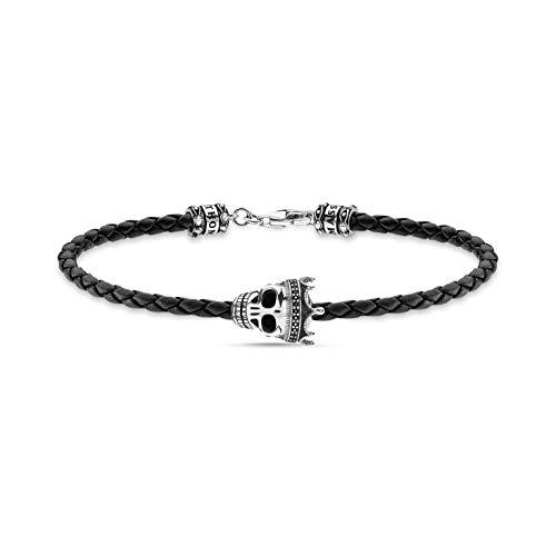 THOMAS SABO Unisex Lederarmband schwarz Totenkopf 925 Sterling Silber geschwärzt Leder A2014-805-11