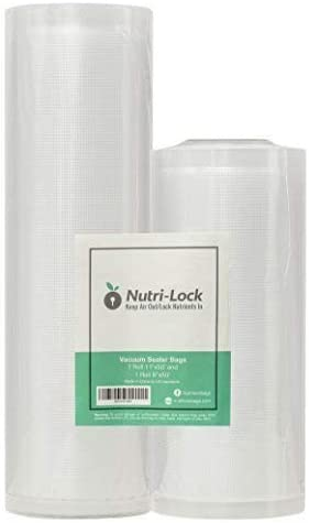 Nutri-Lock Vacuum Sealer Bags. 2 Rolls 11x50 and 8x50. Commercial Grade Bag Rolls. Works with FoodSaver. Perfect for Sous Vide