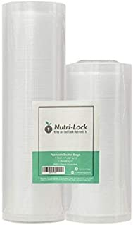 Nutri-Lock Vacuum Sealer Bags. 2 Rolls 11x50 and 8x50. Commercial Grade Bag Rolls. Great Food Saver and Sous Vide Bags