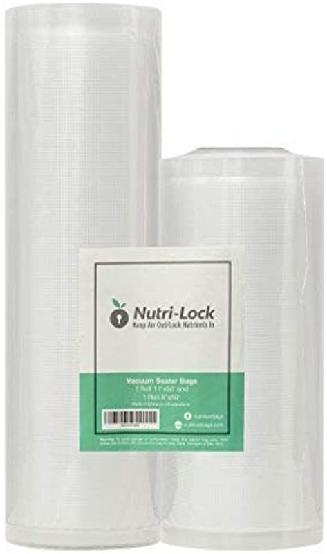 Nutri Lock Vacuum Sealer Bags 2 Rolls 11x50 And 8x50 Commercial Grade Bag Rolls For FoodSaver And Sous Vide
