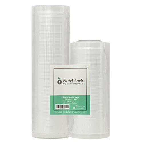 Nutri-Lock Vacuum Sealer Bags. 2 Rolls 11x50 and 8x50. Commercial Grade Bag Rolls for FoodSaver and Sous Vide