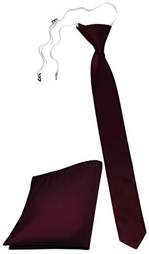 TigerTie Security Sicherheits Krawatte Einstecktuch in bordeaux rot weinrot einfarbig Uni Rips - Sicherheitskrawatte fest vorgebunden mit Gummizug