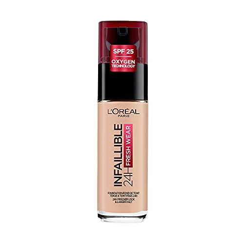 L'Oréal Paris Make up, Wasserfest und langanhaltend, Flüssige Foundation mit LSF 25, Infaillible 24H Fresh Wear Make-up, Nr. 25 Rose Ivory, 30 ml