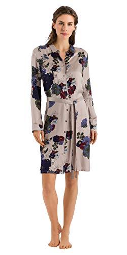 Hanro Damen Lavea Long Sleeve Gown Nachthemd, Platzierte Blumen, Medium