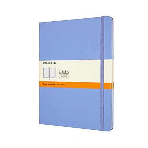 Moleskine - Classic Notebook, Taccuino a Righe, Copertina Rigida e Chiusura ad Elastico, Formato XL 19 x 25 cm, Colore Blu Ortensia, 192 Pagine