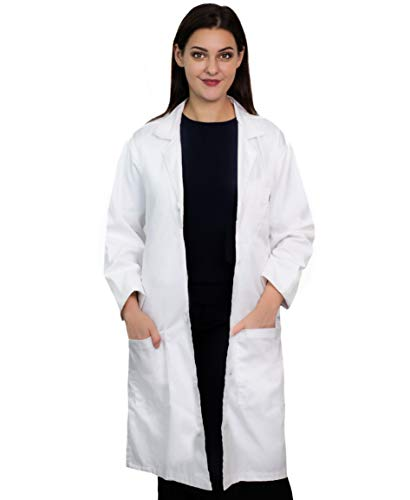 Magnus Care Professional Lab Coat Women Men White Long Sleeve, Unisex Labcoat, 41