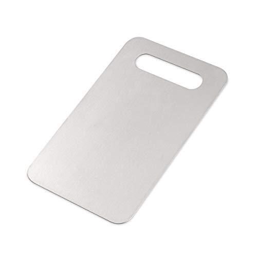 astano Tabla de cortar de acero inoxidable, 24 x 15 cm, antibacteriana