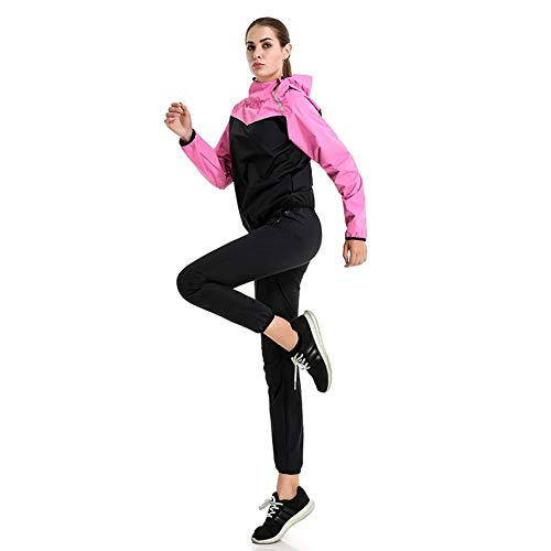 Denise Lamb Sauna Trainingsanzug Sportanzug Damen Saunaanzüge Schwitzanzug Abnehmen Fitness Trainingsjacke Saunahose (Color : Pink, Size : XL)