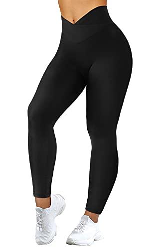 MOOSLOVER Women V Cross Waist Butt Lifting Leggings with Pockets High Waisted Yoga Pants(Large,#1 Black)
