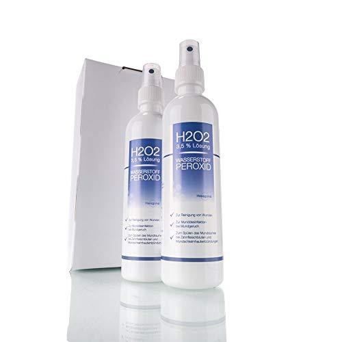 Wasserstoffperoxid H2O2 3,5 % Lösung auf Osmose Wasser mit praktischem Sprühaufsatz - optimal zum Desinfizieren und zur Mundhygiene - Pharmaqualität aus Deutschland - höchste Qualität (2 x 250 ml)