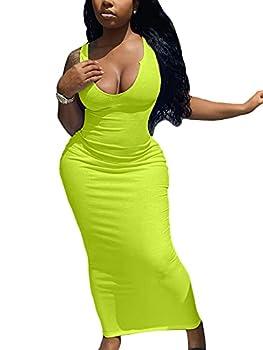 Mulisky Women s Sexy Ribbed V Neck Tank Sleeveless Bodycon Midi Club Cocktail Dress Neon Green XL