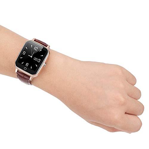 DAUERHAFT Reloj de ubicación para Personas Mayores Ancianos 650mAh, para Personas Mayores Compruebe la frecuencia cardíaca(Brown)