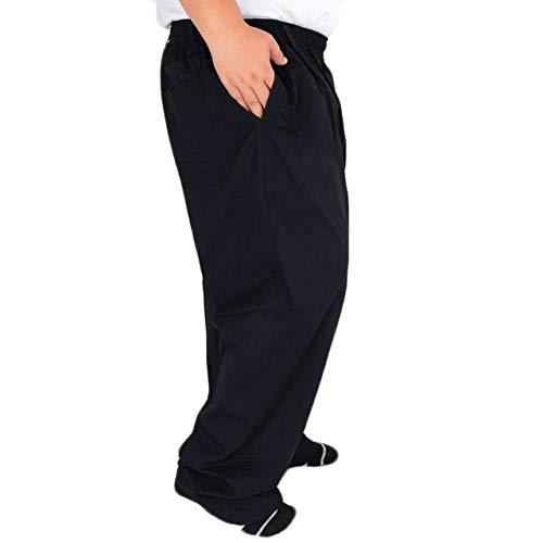 HOSD Pantalones Casuales de algodón de Cintura Alta elásticos de Verano para Hombres de Mediana Edad Papá de Gran tamaño