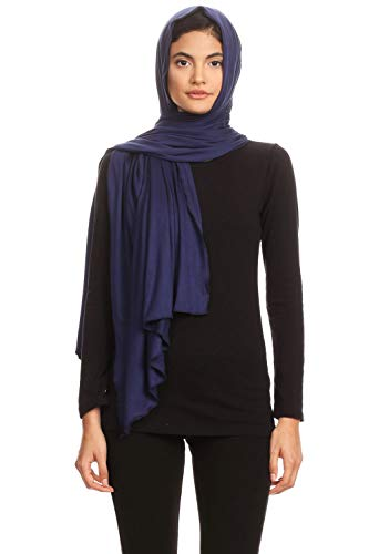 Abeelah Jersey Hijab Scarf - Made in the USA - Islamic, Muslim, African and Indian Fashion Compatible (Navy Blue)
