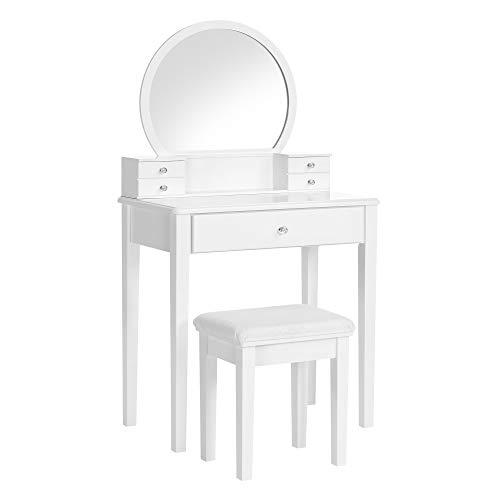 VASAGLE Schminktisch-Set, Frisiertisch, mit Spiegel, modern, gepolsterter Hocker, 5 Schubladen, 70 x 40 x 134 cm, Geschenkidee, weiß RDT152W01