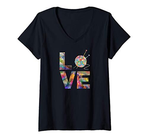 Mujer Tejedora regalo de punto, ganchillo Amor Yarn Patrones de Camiseta Cuello V