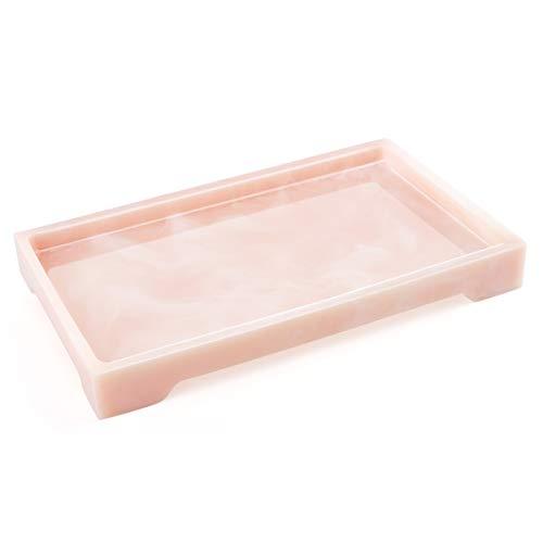 Luxspire Vassoio Retangolare in Resina, Vassoio per Bagno Organizzatore Portaoggetti per Tessuti Candele Sapone Shampoo Profumi Asciugamano Pianta, ECC, Taglia M - Rosa