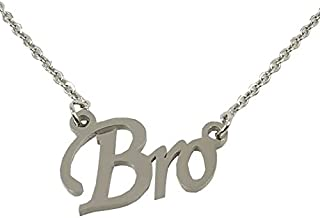 Utkarsh Silver Color Fancy & Stylish Trending Metal Stainless Steel Bro Name Letter Locket Pendant Necklace With Chain For...