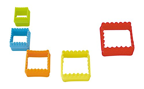 R&M International 1763 Square Cookie and Biscuit Cutters, Assorted Sizes, Bright Colors, 5-Piece Set