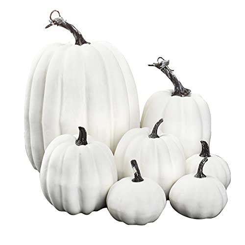 7Pcs Set Decoración de Calabazas Artificiales, Tamaños Surtidos Mini Calabaza Blanca de Halloween, Calabazas Artificiales Decoración para Hogar para Otoño Otoño Acción Gracias Decoraciones Halloween