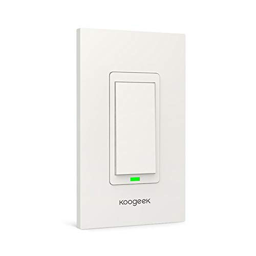 Koogeek Smart WiFi Light Switch for Apple HomeKit with Siri Remote on 2.4Ghz Network, No Hub Required, Single Pole (Require Neutral Wire)