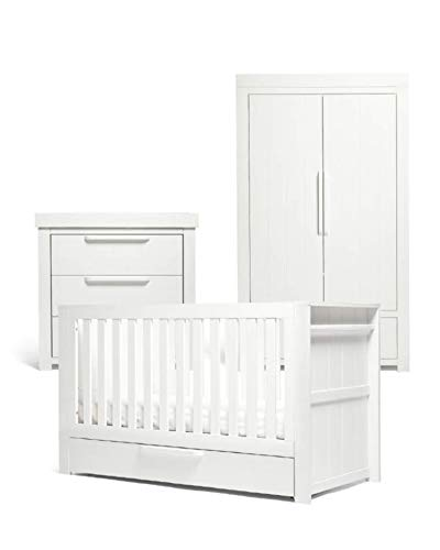 Mamas & Papas Franklin 3 Piece Nursery Furniture Set with Cot Bed, Baby Dresser/Changer and Wardrobe – White Wash