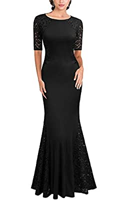 FORTRIC Women Short Sleeves Lace Wedding Party Bridesmaid Maxi Dress Black S