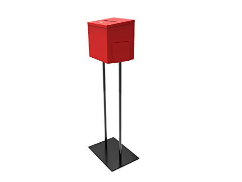 FixtureDisplays Red Metal Ballot Box Donation Box Suggestion Box with Black Stand 11064+10918-RED-NF