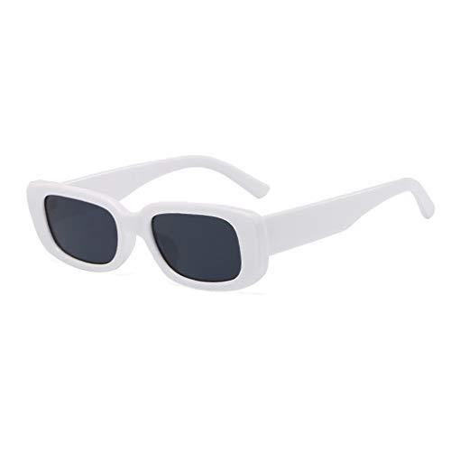 Long Keeper Gafas de sol rectangulares Protección UV400 Gafas de conducción retro para mujer (Blanco Negro)
