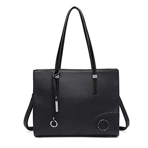 Donna Beige Miss Lulu in finta pelle Multi scomparto Tote Handbag Bag LT1748