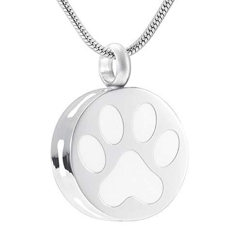 GenericBrands Collar de Cenizas de Recuerdo de urna de joyería de cremación de Huesos de Pata de Perro de Acero Inoxidable Redondo para Mujer-pérdida de Mascota