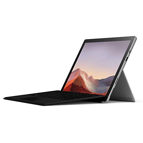Microsoft Surface Pro 7, 12,3 Zoll 2-in-1 Tablet (Intel Core i5, 8GB RAM, 128GB SSD, Win 10 Home) Platin Grau + Type Cover (QWERTZ Keyboard) Schwarz