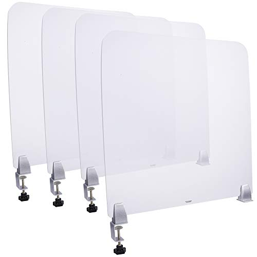 4 Pack. Desk Divider, Office Partition, Sneeze Shield. Size: 22x22 Inches. Frosted Acrylic Plexiglass. Silver Multi Purpose Clamps Included. Excellent for Offices, Schools, Libraries & Test Centers