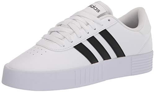 adidas womens Court Bold Sneaker, White/Black/White, 6.5 US