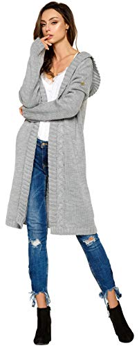 Lemoniade hochwertiger, modischer Cardigan mit Kapuze Knielang - Strickjacke Damen Jacke lang Mantel Strickmantel (LS213 900552 hellgrau)