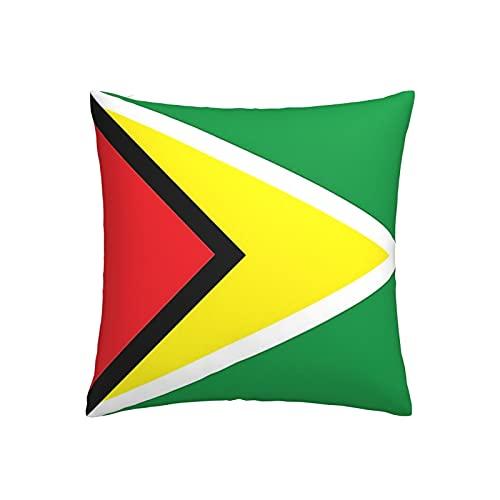 Kissenbezug mit Flagge von Guyana, quadratisch, dekorativer Kissenbezug für Sofa, Couch, Zuhause, Schlafzimmer, drinnen & draußen, niedlicher Kissenbezug 45,7 x 45,7 cm